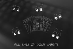 Webpages surrounded by cartoon eyes staring. Alll eyes on your website concept: webpages surrounded by cartoon eyes staring Stock Images