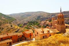 Allmän sikt av Albarracin Arkivbild