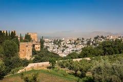 Allmän sikt av Alhambraen Arkivbild