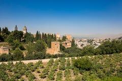 Allmän sikt av Alhambraen Royaltyfria Foton