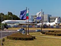 Allmän sikt av den Sarafovo flygplatsen Arkivbild