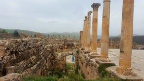 Allmän sikt av forumet, ruin& x27; s av djemilaen, Algeriet Fotografering för Bildbyråer