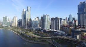 Allmän sikt av staden av den nya avenyn för Panama City byggnader arkivbilder