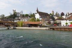 Allmän sikt in mot byggnader i Lucerne Royaltyfri Foto