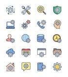 Allmänna inställningssymboler, färguppsättning - vektorillustration Royaltyfri Bild