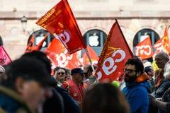 Allmänt förbund av Labour den politiska marschen under franska Fotografering för Bildbyråer