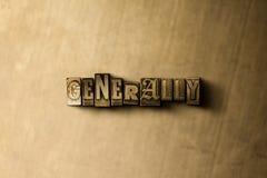 ALLMÄNT - närbild av det typsatta ordet för grungy tappning på metallbakgrunden royaltyfri foto