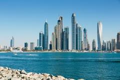 Allmän sikt av den Dubai marina UAE Royaltyfri Fotografi