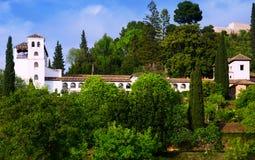 Allmän sikt till slotten av Generalife Fotografering för Bildbyråer