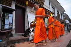 Allmosa som ger ceremoni i Luang Prabang, Laos Royaltyfria Bilder