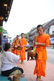 Allmosa som ger ceremoni i Luang Prabang, Laos Royaltyfria Foton