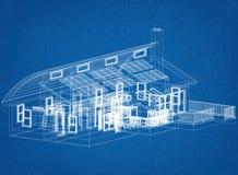 Alloggi con l'architetto Blueprint dei pannelli solari Fotografia Stock