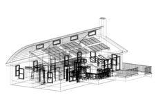 Alloggi con l'architetto Blueprint dei pannelli solari - isolato Fotografie Stock Libere da Diritti