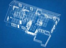 Alloggi con l'architetto Blueprint dei pannelli solari - isolato Immagine Stock