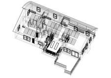 Alloggi con l'architetto Blueprint dei pannelli solari - isolato Fotografia Stock Libera da Diritti
