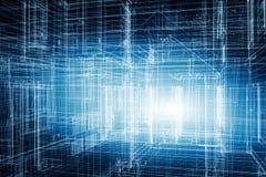 Alloggi 3d il progetto, progettazione in struttura del wireframe del modello Immagine Stock Libera da Diritti