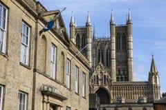 Alloggi e Lincoln Cathedral dei giudici Immagine Stock Libera da Diritti
