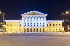 Alloggi generale Borshchov alla notte nell'inverno in Kostroma Fotografie Stock