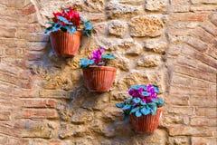 Alloggi i dettagli, vie strette della città di Volterra Fotografia Stock Libera da Diritti