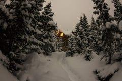 Alloggi il chalet durante precipitazioni nevose nella foresta dell'inverno degli alberi a nig Immagini Stock