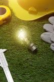 Alloggi il concetto di idee dell'architetto e dell'ingegnere con la lampadina urlo Immagine Stock