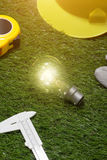 Alloggi il concetto di idee dell'architetto e dell'ingegnere con la lampadina urlo Immagine Stock Libera da Diritti