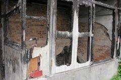 Alloggi il fuoco Conflagrazione di immagini del dettaglio da una casa Fotografia Stock