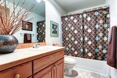 Alloggi il gabinetto interno di vanità del bagno con il grande specchio Immagini Stock Libere da Diritti