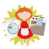 Alloggi il lavoro e la famiglia, il governo della casa di ogni giorno, donna che cucina e che lava e, isolata Immagine Stock