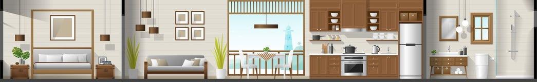 Alloggi il panorama interno della sezione compreso la camera da letto, il salone, la sala da pranzo, la cucina ed il bagno illustrazione di stock