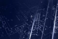Alloggi il piano del progetto, rotoli del modello per il backgr di ingegneria civile Fotografie Stock