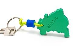 Alloggi il tasto con l'etichetta nel modulo del confine del Brasile Fotografia Stock