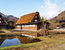 Alloggi il villaggio del patrimonio mondiale Shirakawa-vanno, Gifu, Giappone Fotografia Stock Libera da Diritti
