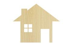 Alloggi l'icona da struttura di legno isolata su bianco Fotografia Stock