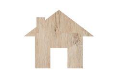 Alloggi l'icona da struttura di legno isolata su bianco Immagine Stock
