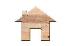 Alloggi l'icona da struttura di legno isolata su bianco Immagini Stock Libere da Diritti