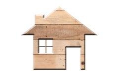 Alloggi l'icona da struttura di legno isolata su bianco Fotografia Stock Libera da Diritti