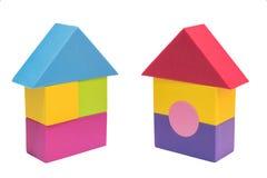 Alloggi l'icona domestica, il logo, il simbolo, concetto del segno dal giocattolo variopinto bl Fotografia Stock