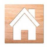 Alloggi l'icona intagliata dentro di legno, isolato. immagini stock