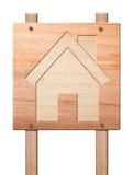Alloggi l'icona intagliata dentro di legno, isolato. Fotografia Stock