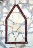 Alloggi l'icona su fondo di pietra, concetto domestico della costruzione Fotografia Stock