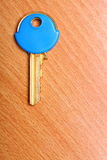 Alloggi la chiave con i cappucci blu dei cappotti della plastica sulla tavola Immagini Stock Libere da Diritti