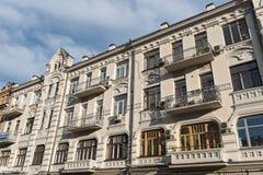Alloggi la fila nella vecchia città storica di Kiev, Ucraina Immagini Stock