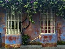 Alloggi la finestra con le barre di legno a Cartagine, Colombia Fotografia Stock
