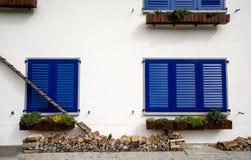 Alloggi la parte anteriore con le scale del gatto e gli otturatori blu Fotografie Stock