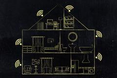 Alloggi la sezione con il simbolo di Wi-Fi in ogni stanza Fotografie Stock Libere da Diritti