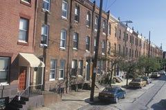 Alloggio dell'appartamento di reddito basso, Filadelfia, Pensilvania Fotografia Stock
