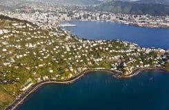 Alloggio e città di Wellington dall'aria Immagini Stock