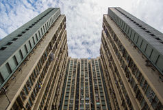 Alloggio e costruzione ammucchiati di Hong Kong Fotografie Stock Libere da Diritti