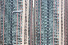 Alloggio e costruzione ammucchiati di Hong Kong Immagini Stock